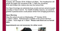Prospective Year 7 Open Evening / Morning 2018