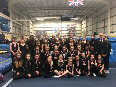 2019 Kent Schools Trampoline finals - whole squad