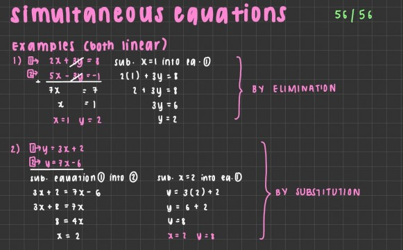 Maths - Olivia 11P simultaneous equations pic 1