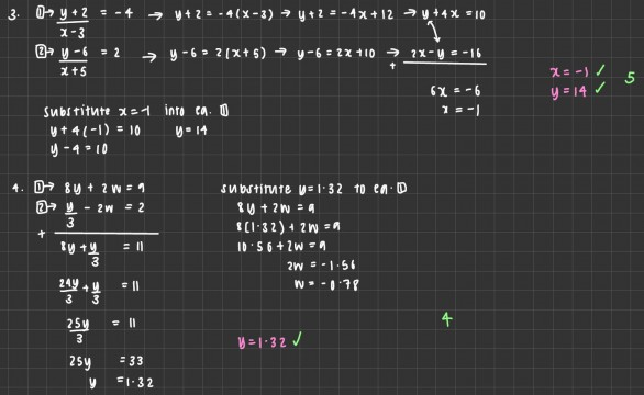Maths - Olivia 11P simultaneous equations pic 4