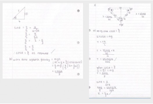Maths - Jasmine 13F Further Maths Mechanies Work on Hookes Law pic 1 and 2 with border